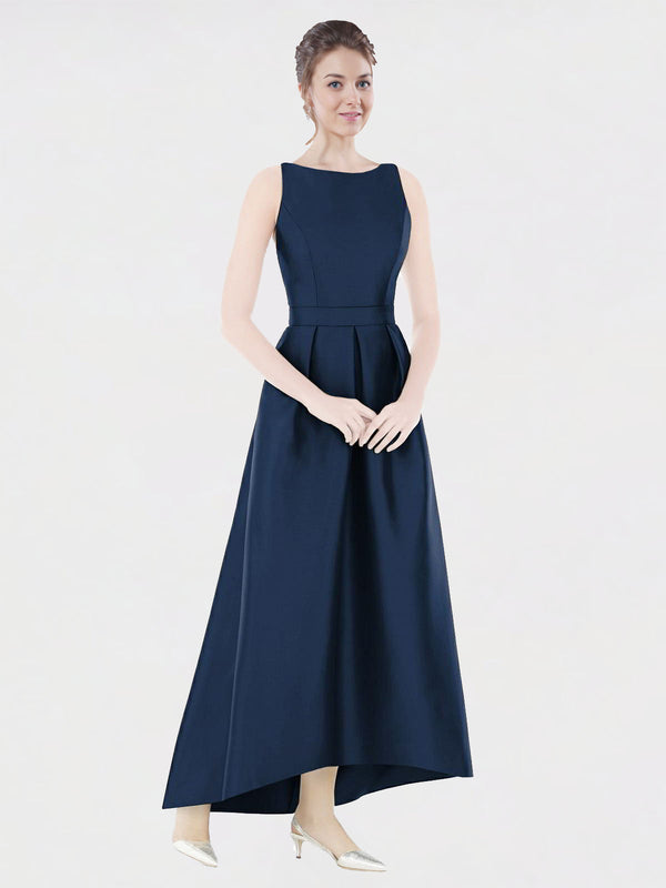 Long A-Line Bateau Sleeveless Dark Navy Satin Bridesmaid Dress Mikayla