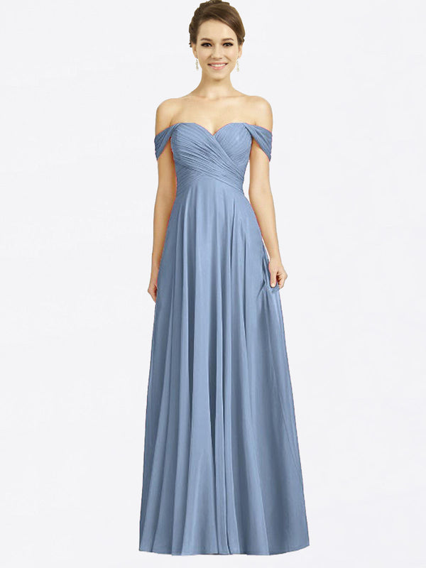Long A-Line Sweetheart Off the Shoulder Cap Sleeves Dusty Blue Chiffon Bridesmaid Dress Sabrina