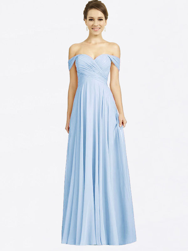 Long A-Line Sweetheart Off the Shoulder Cap Sleeves Light Sky Blue Chiffon Bridesmaid Dress Sabrina