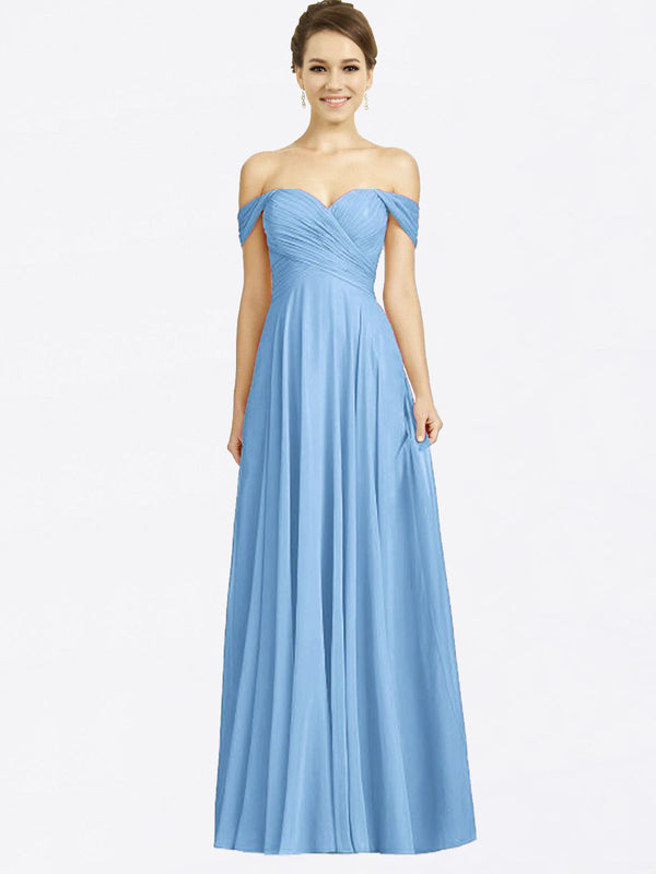 Long A-Line Sweetheart Off the Shoulder Cap Sleeves Periwinkle Chiffon Bridesmaid Dress Sabrina