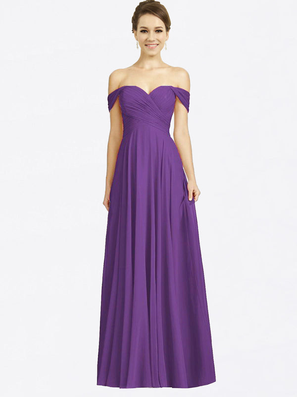 Long A-Line Sweetheart Off the Shoulder Cap Sleeves Plum Purple Chiffon Bridesmaid Dress Sabrina