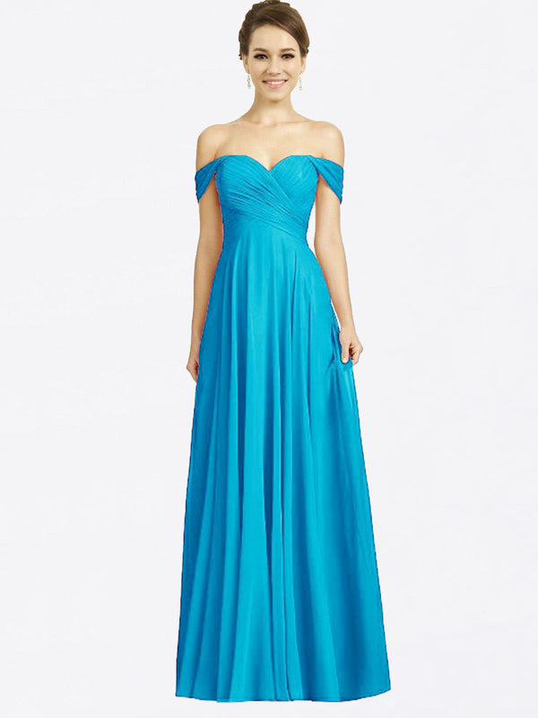Long A-Line Sweetheart Off the Shoulder Cap Sleeves Turquoise Chiffon Bridesmaid Dress Sabrina