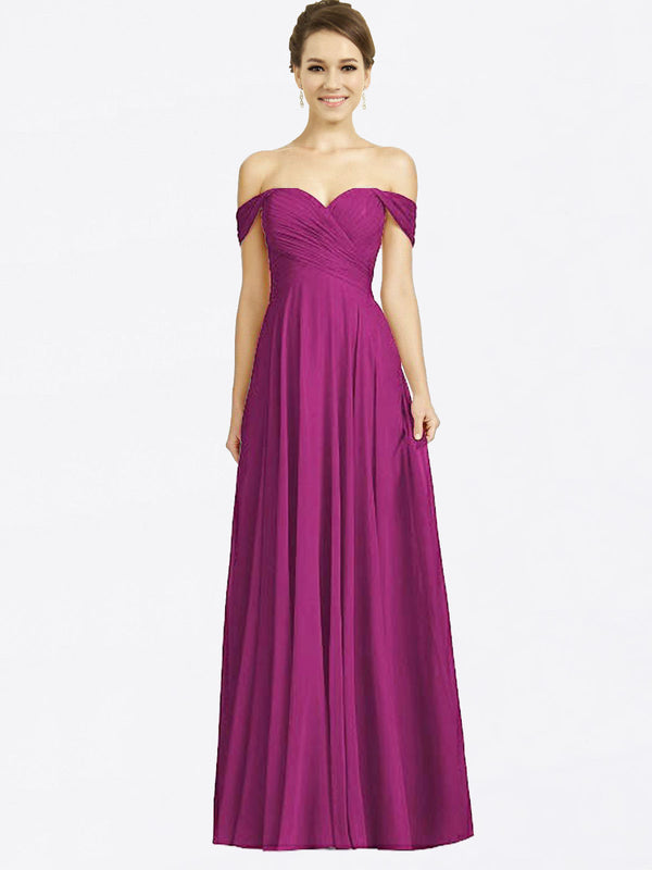 Long A-Line Sweetheart Off the Shoulder Cap Sleeves Wild Berry Chiffon Bridesmaid Dress Sabrina