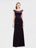 Long A-Line Off the Shoulder Cap Sleeves Grape Satin Bridesmaid Dress Selah