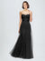 Long A-Line Sweetheart Sleeveless Black Tulle Bridesmaid Dress Kelly