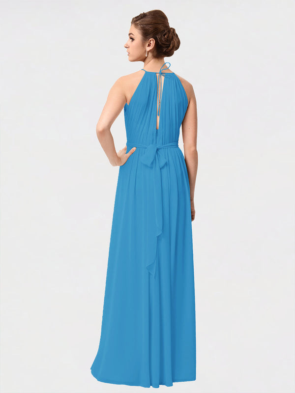 Long A-Line High Neck Sleeveless Peacock Blue Chiffon Bridesmaid Dress Sutton