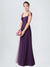 Long A-Line Sweetheart Floor Length Cap Sleeves Plum Tulle Bridesmaid Dress Julieta