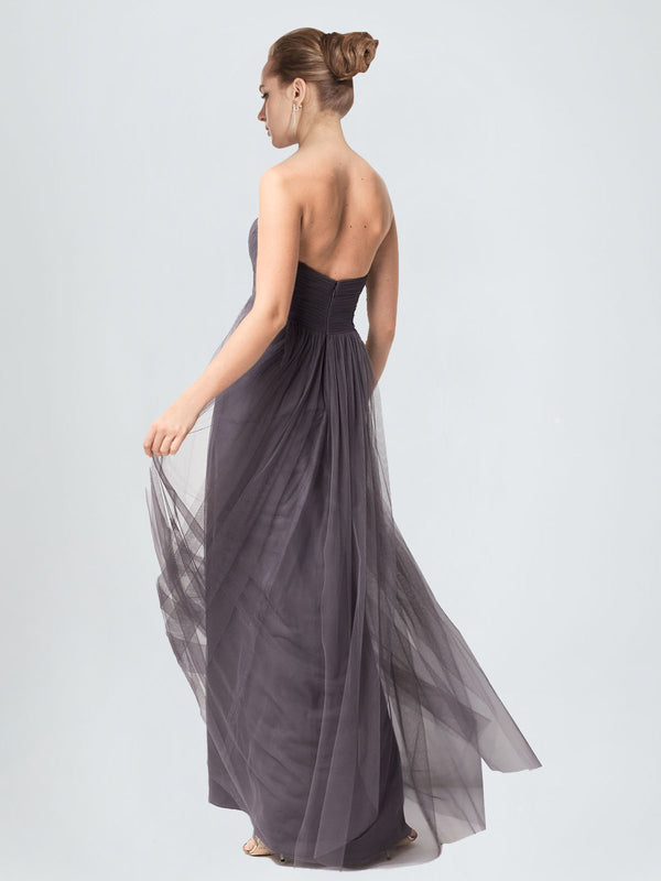 Long A-Line Sweetheart Floor Length Sleeveless Pewter Tulle Bridesmaid Dress Kimber