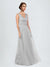 Long A-Line V-Neck Floor Length Sleeveless Silver Tulle Bridesmaid Dress Cassandra