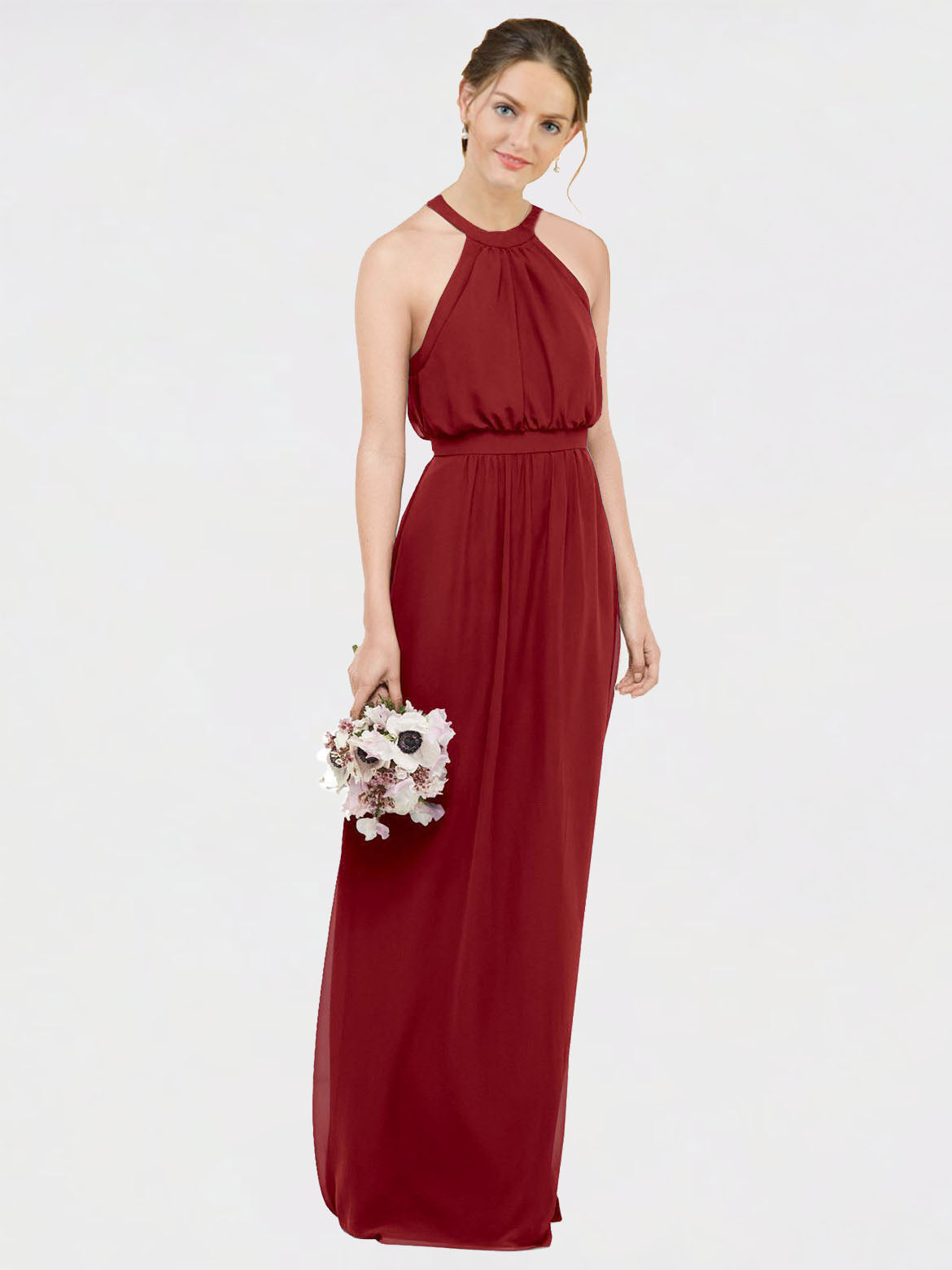 Long A-Line Halter, High Neck Sleeveless Burgundy Chiffon Bridesmaid Dress Elliot