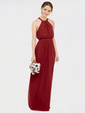RightBrides Elliot Bridesmaid Dress, Burgundy A-Line Halter Floor Length Long Chiffon Sleeveless Bridesmaid Dress