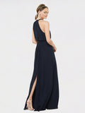 Long A-Line Halter, High Neck Sleeveless Dark Navy Chiffon Bridesmaid Dress Elliot