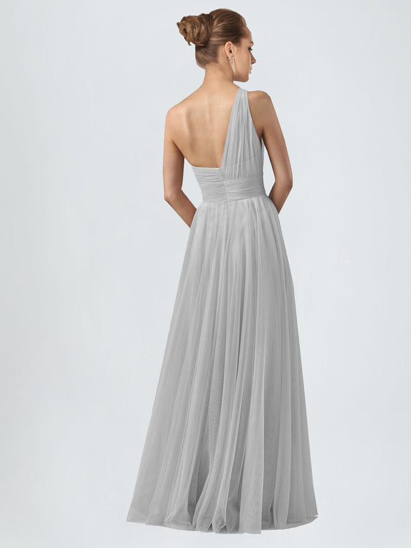 Long A-Line One Shoulder Sleeveless Silver Tulle Bridesmaid Dress Anahi