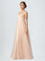 Long A-Line Spaghetti Straps Sleeveless Tulle Nude Bridesmaid Dress Kailani