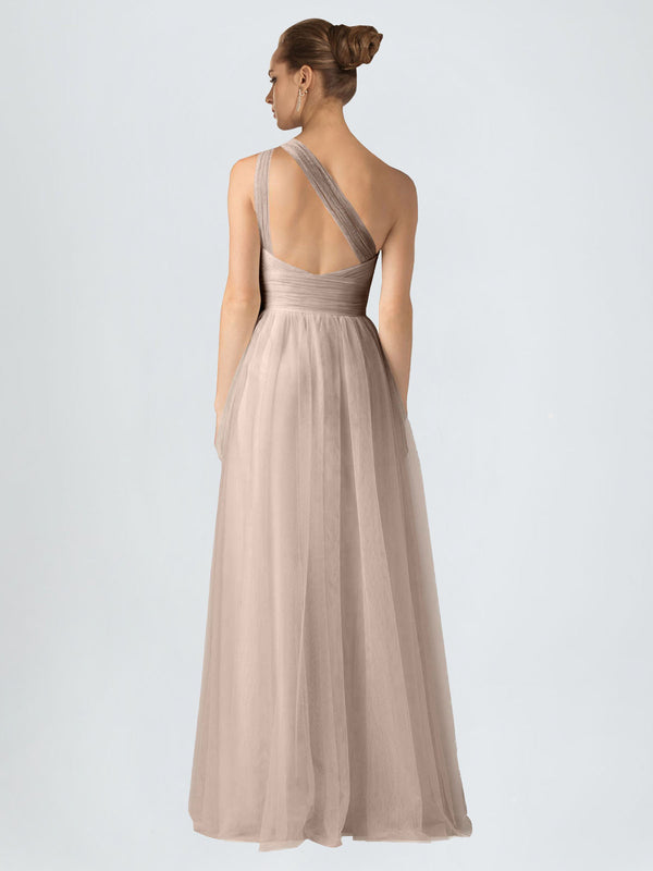 RightBrides Saige Bridesmaid Dress, Nude A-Line One Shoulder Floor Length Long Tulle Bridesmaid Dress