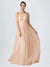 Long A-Line One Shoulder Sleeveless Tulle Nude Bridesmaid Dress Saige
