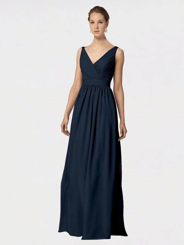Long A-Line V-Neck Sleeveless Dark Navy Chiffon Bridesmaid Dress Anya