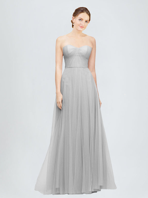 Long A-Line Sweetheart Sleeveless Silver Tulle Bridesmaid Dress Emory