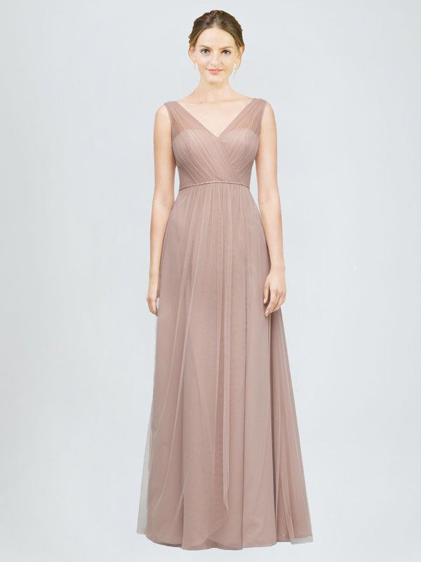 Long A-Line V-Neck Tulle Bridesmaid Dress Alaia
