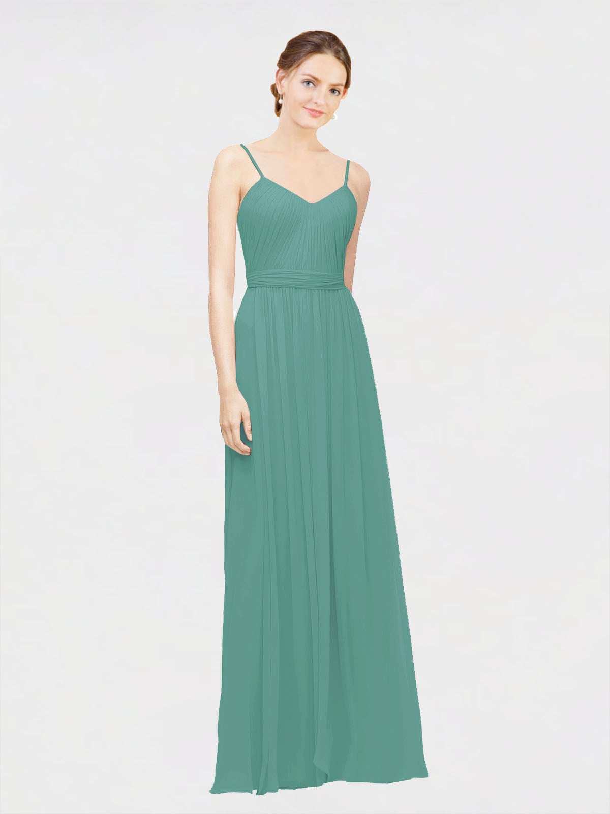 Long A-Line V-Neck, Spaghetti Straps Sleeveless Icelandic Silver Chiffon Bridesmaid Dress Lylah