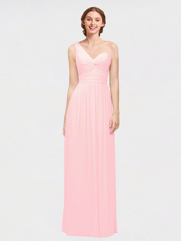 Long A-Line One Shoulder, Sweetheart Sleeveless Pink Chiffon Bridesmaid Dress Angie