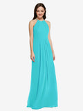 Long Sheath High Neck Halter Sleeveless Aqua Chiffon Bridesmaid Dress Koloti