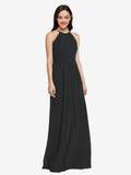 Long Sheath High Neck Halter Sleeveless Black Chiffon Bridesmaid Dress Koloti
