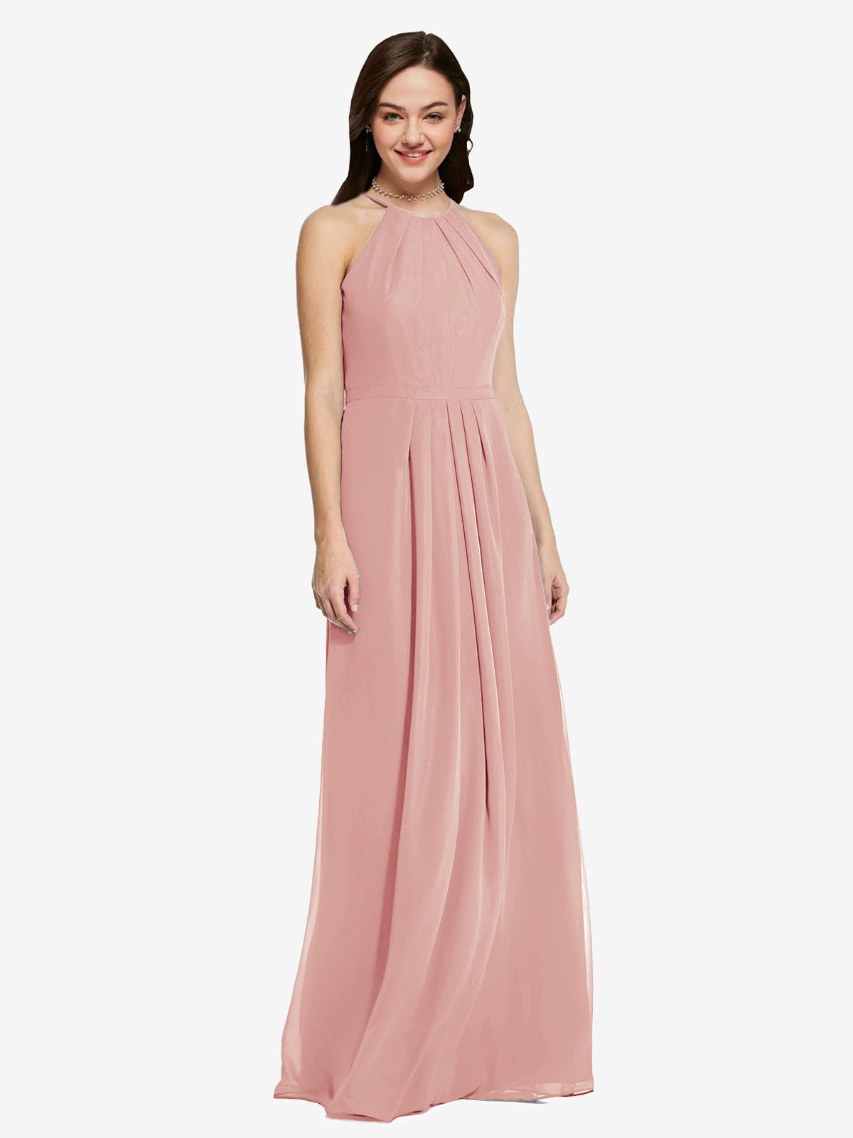 Long Sheath High Neck Halter Sleeveless Bliss Chiffon Bridesmaid Dress Koloti