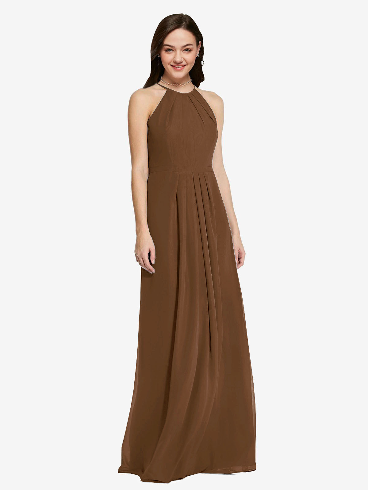 Long Sheath High Neck Halter Sleeveless Brown Chiffon Bridesmaid Dress Koloti