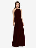 Long Sheath High Neck Halter Sleeveless Burgundy Gold Chiffon Bridesmaid Dress Koloti