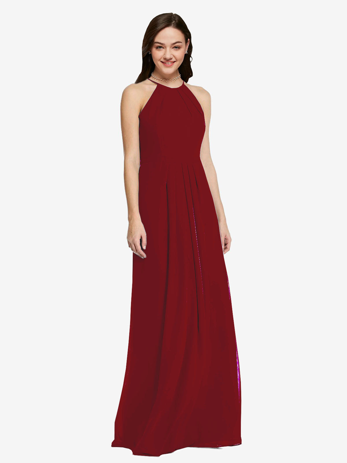 Long Sheath High Neck Halter Sleeveless Burgundy Chiffon Bridesmaid Dress Koloti