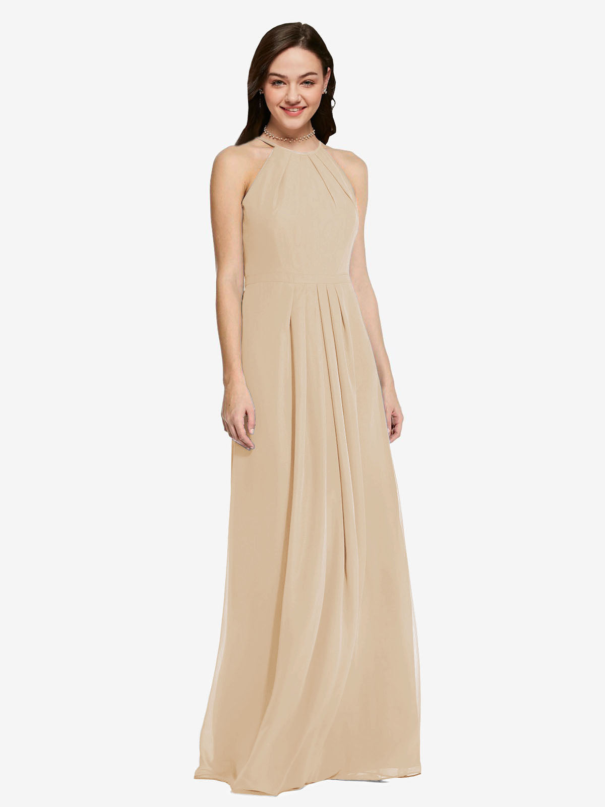 Long Sheath High Neck Halter Sleeveless Champagne Chiffon Bridesmaid Dress Koloti