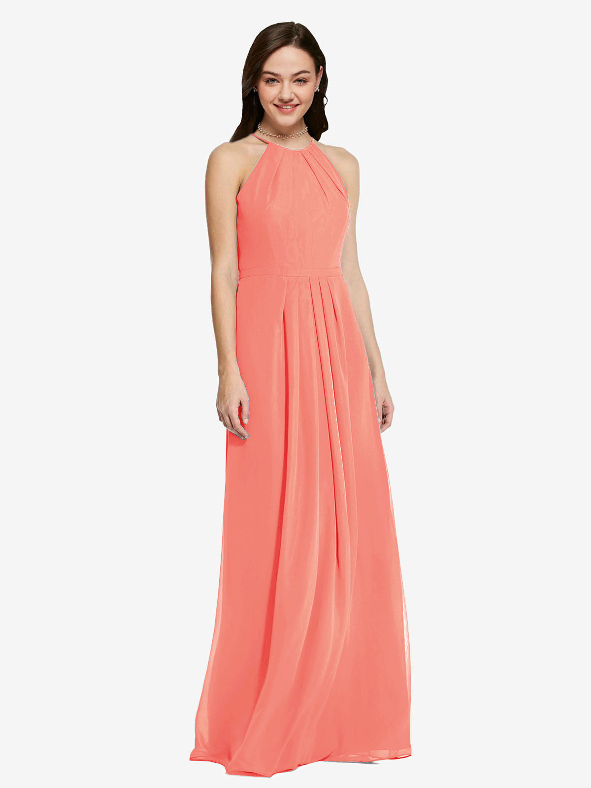 Long Sheath High Neck Halter Sleeveless Coral Chiffon Bridesmaid Dress Koloti