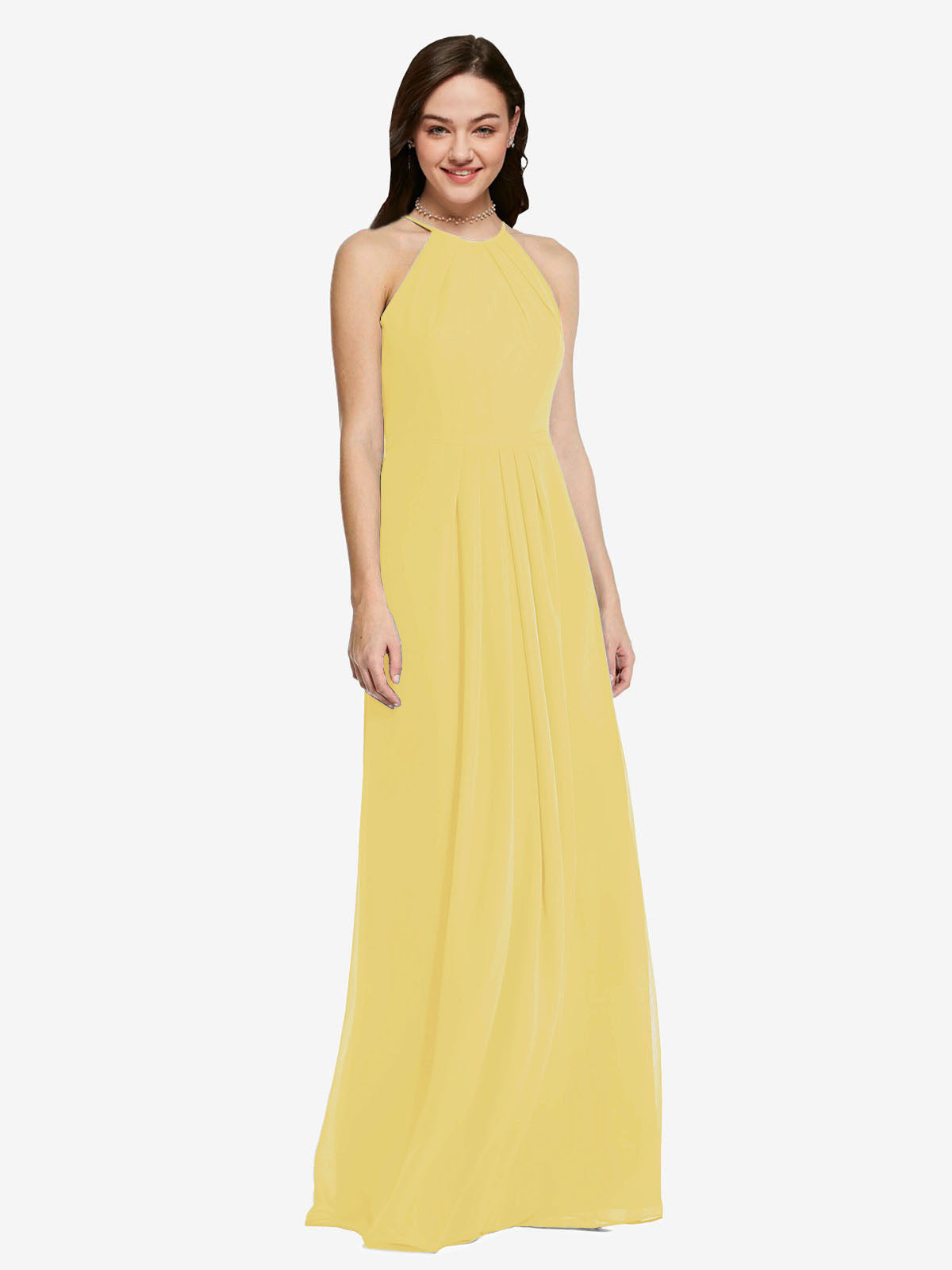 Long Sheath High Neck Halter Sleeveless Daffodil Chiffon Bridesmaid Dress Koloti