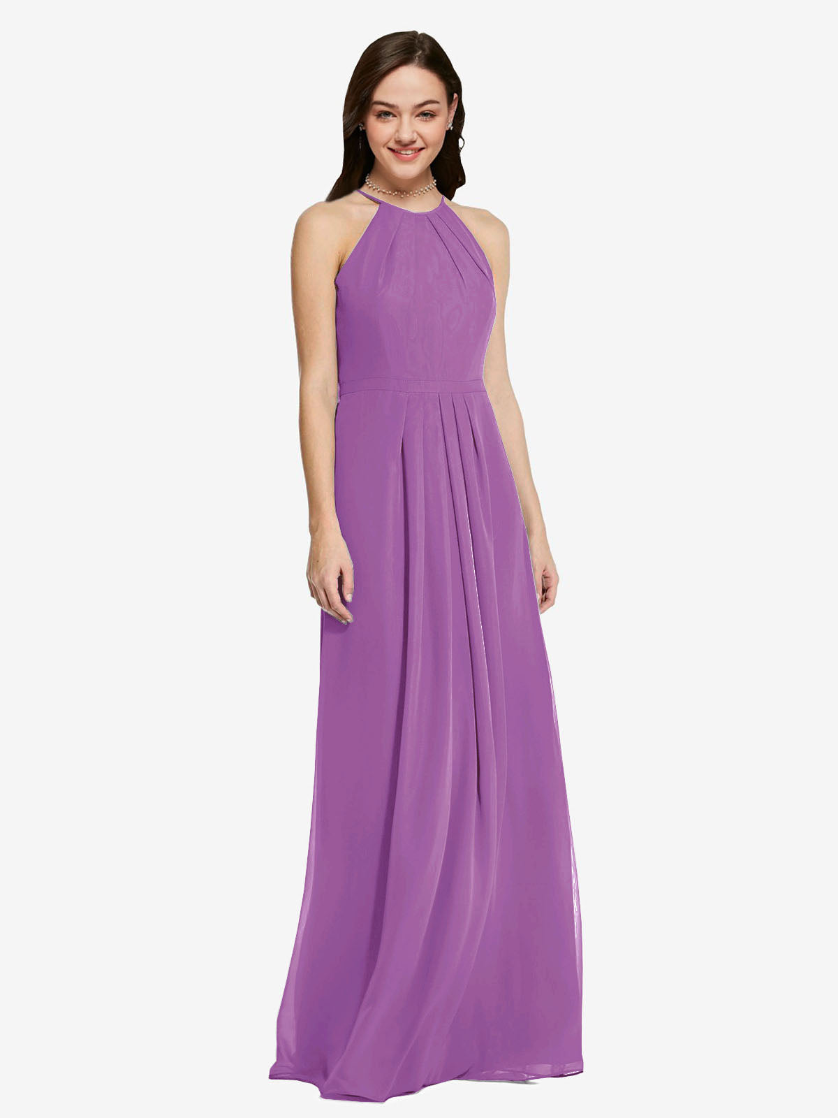 Long Sheath High Neck Halter Sleeveless Dahlia Chiffon Bridesmaid Dress Koloti