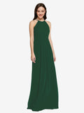Long Sheath High Neck Halter Sleeveless Dark Green Chiffon Bridesmaid Dress Koloti