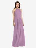 Long Sheath High Neck Halter Sleeveless Dark Lavender Chiffon Bridesmaid Dress Koloti