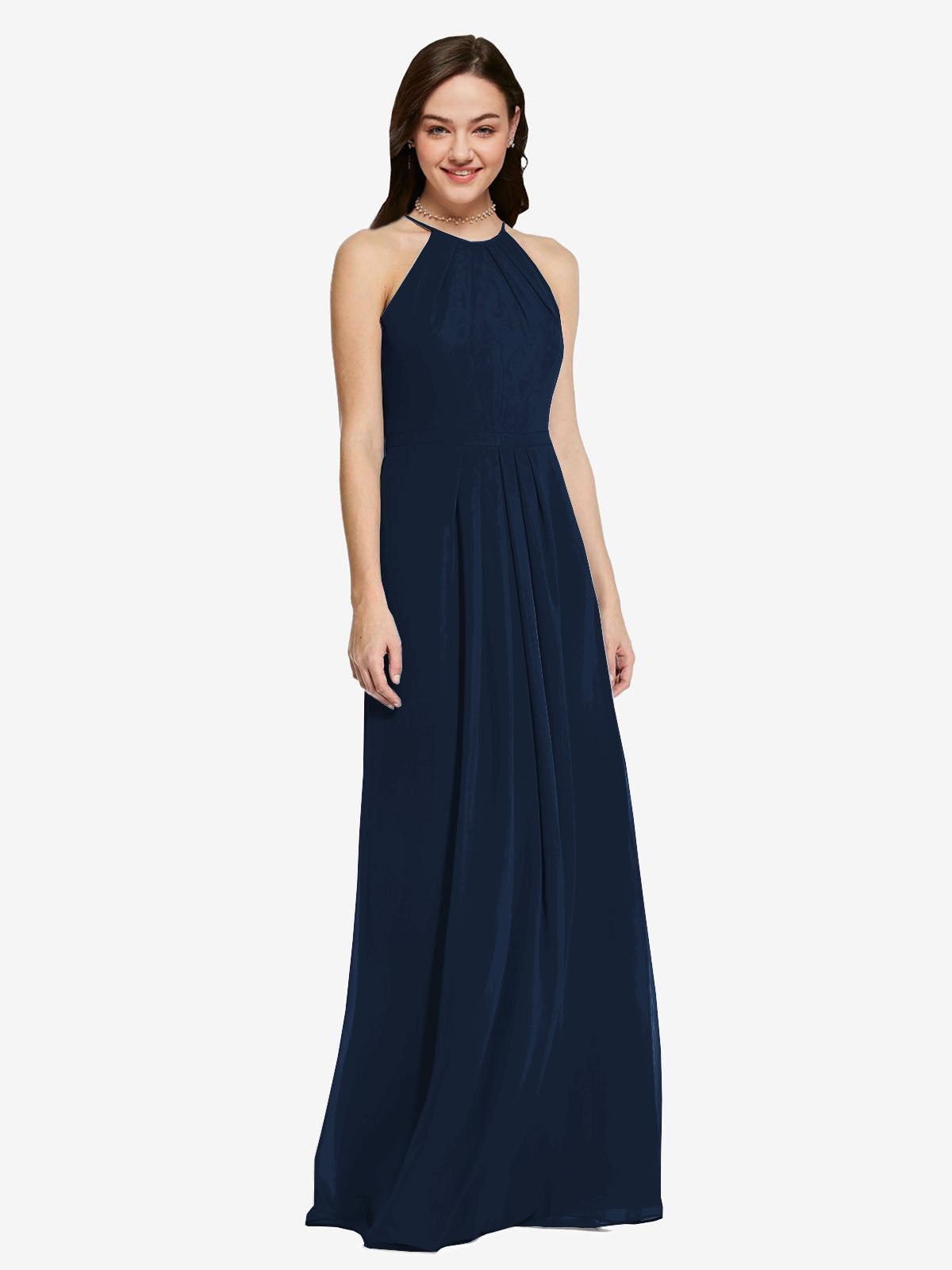 Long Sheath High Neck Halter Sleeveless Dark Navy Chiffon Bridesmaid Dress Koloti