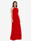 Long Sheath High Neck Halter Sleeveless Dark Red Chiffon Bridesmaid Dress Koloti