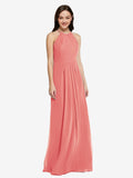 Long Sheath High Neck Halter Sleeveless Desert Rose Chiffon Bridesmaid Dress Koloti