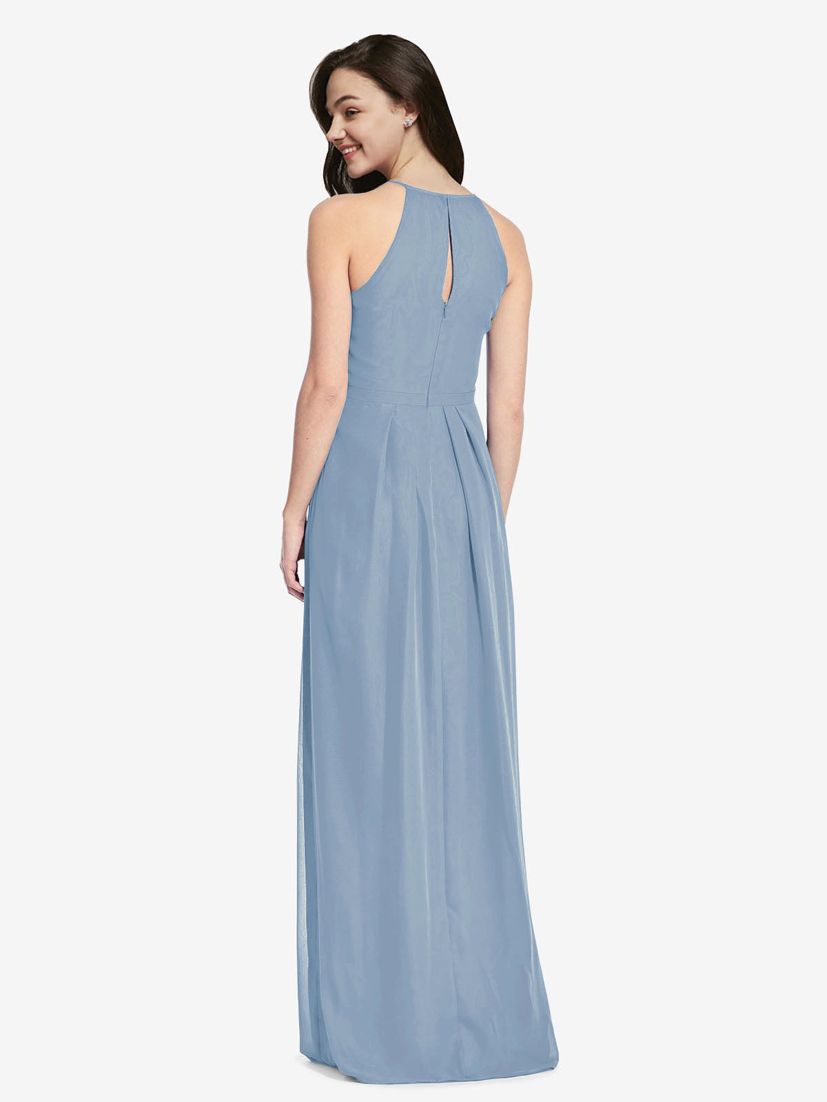 Long Sheath High Neck Halter Sleeveless Dusty Blue Chiffon Bridesmaid Dress Koloti