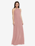 Long Sheath High Neck Halter Sleeveless Dusty Pink Chiffon Bridesmaid Dress Koloti