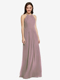 Long Sheath High Neck Halter Sleeveless Dusty Rose Chiffon Bridesmaid Dress Koloti
