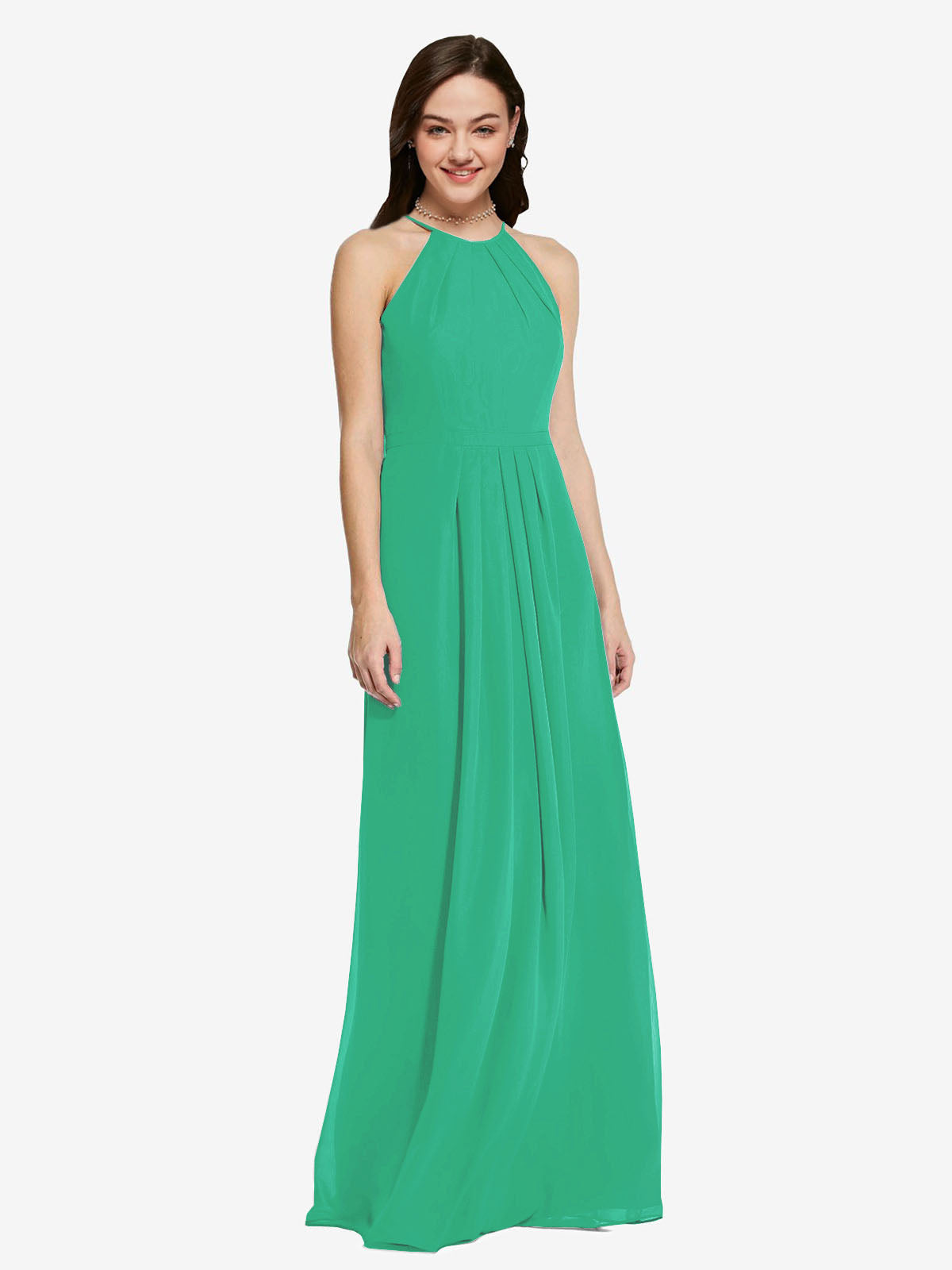 Long Sheath High Neck Halter Sleeveless Emerald Green Chiffon Bridesmaid Dress Koloti