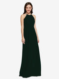 Long Sheath High Neck Halter Sleeveless Ever Green Chiffon Bridesmaid Dress Koloti