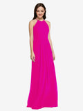 Long Sheath High Neck Halter Sleeveless Fuchsia Chiffon Bridesmaid Dress Koloti