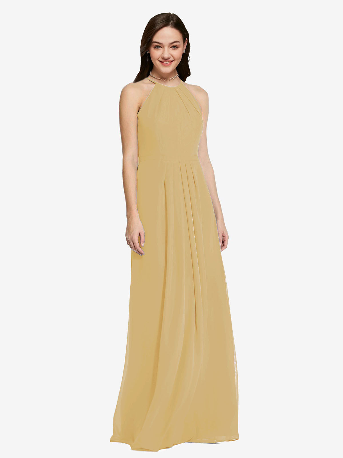 Long Sheath High Neck Halter Sleeveless Gold Chiffon Bridesmaid Dress Koloti