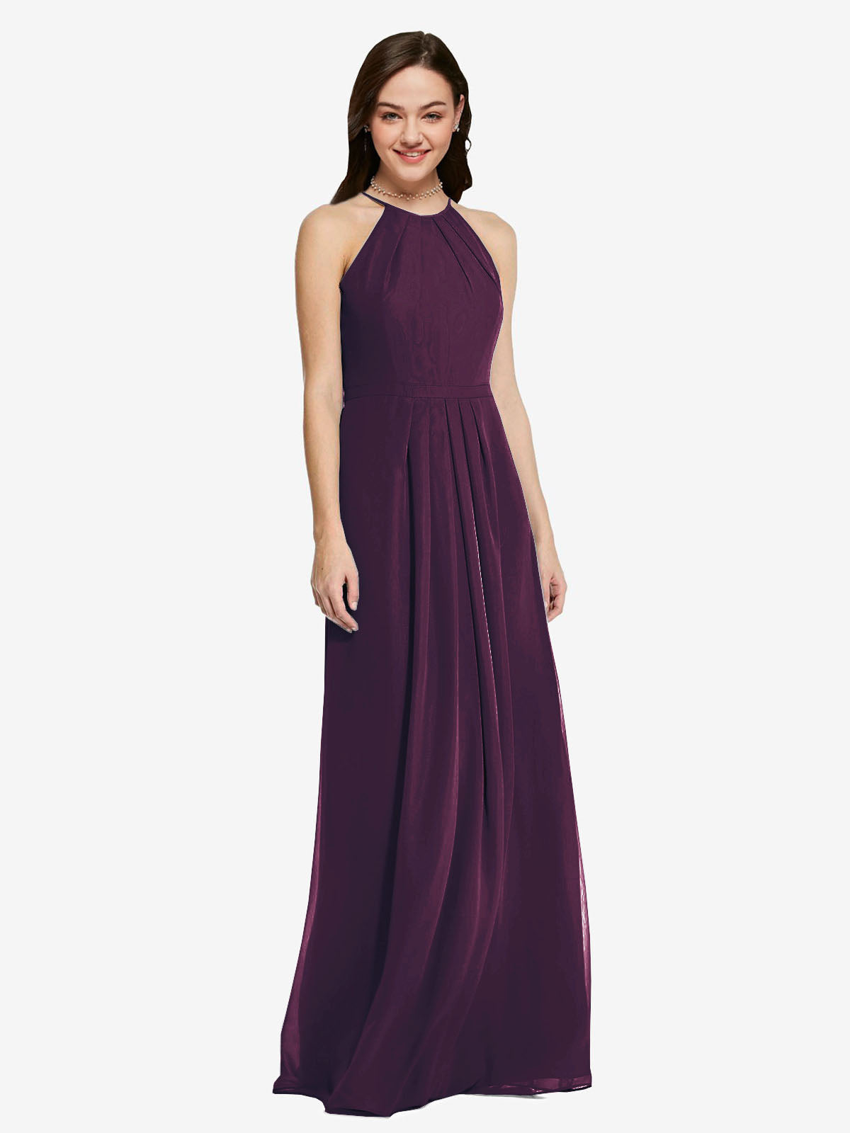 Long Sheath High Neck Halter Sleeveless Grape Chiffon Bridesmaid Dress Koloti