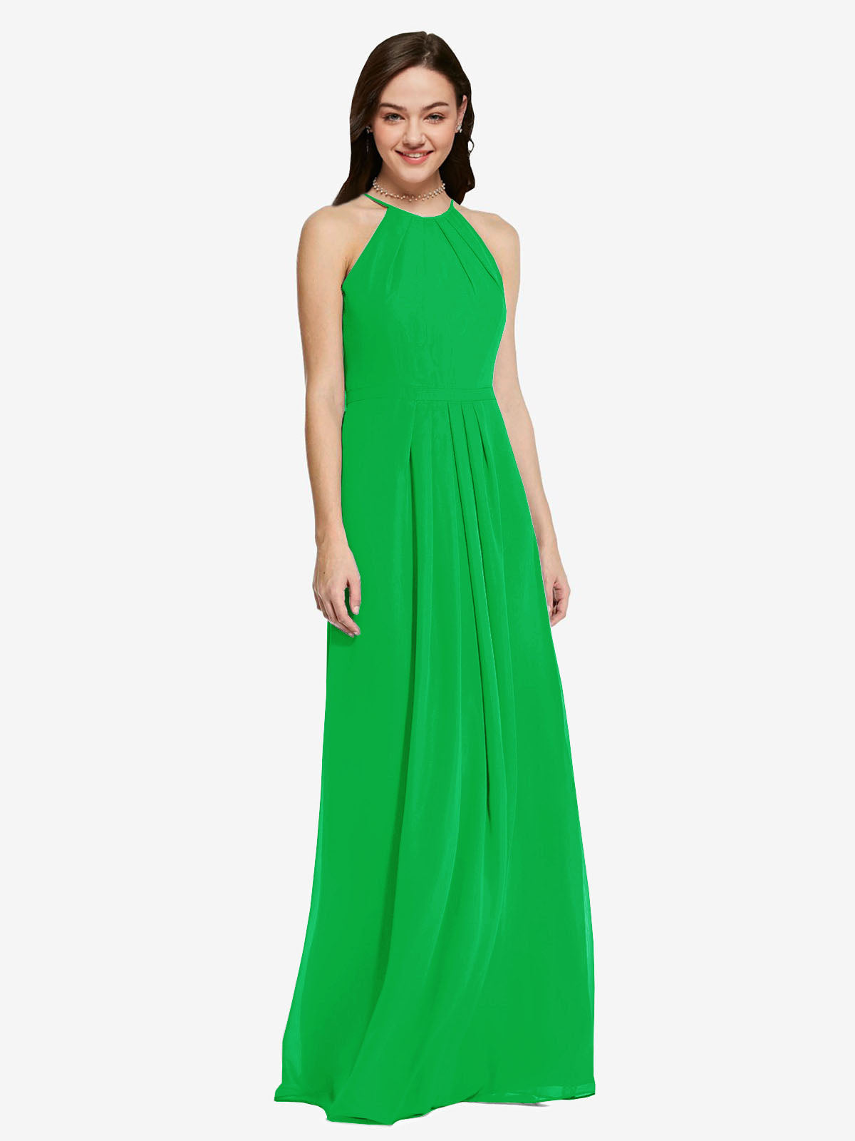 Long Sheath High Neck Halter Sleeveless Green Chiffon Bridesmaid Dress Koloti