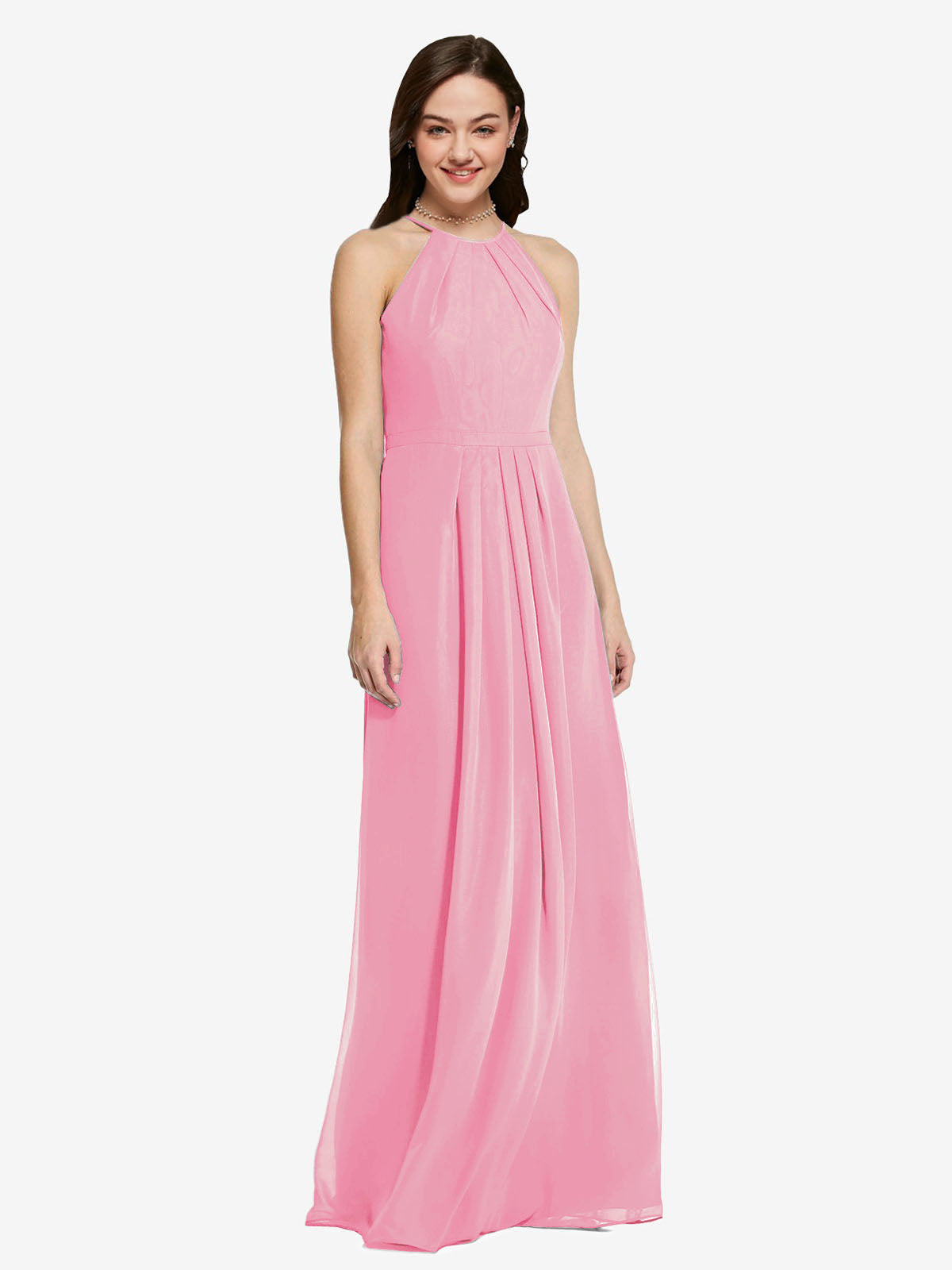 Long Sheath High Neck Halter Sleeveless Hot Pink Chiffon Bridesmaid Dress Koloti